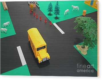 School Bus School Wood Print by Olivier Le Queinec