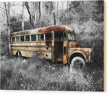 School Bus Wood Print by Steven Michael