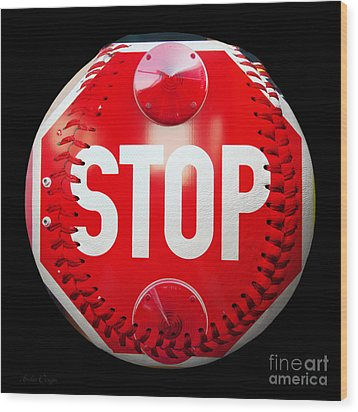 School Bus Stop Sign Baseball Square Wood Print by Andee Design