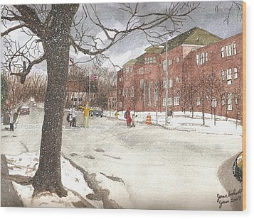 School Days In Medford - Brooks School Wood Print by June Holwell