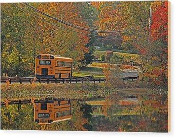 School Days Of Autumn Wood Print by Karol Livote