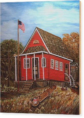 School House Wood Print by Kenneth LePoidevin