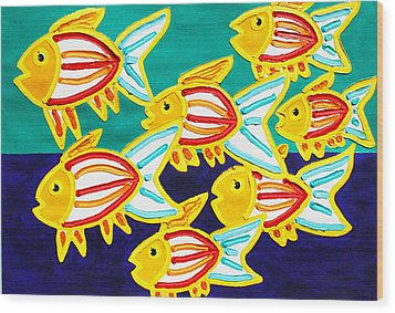 School Of Fish Wood Print by Matthew Brzostoski