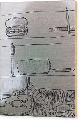 School Ojects Wood Print by Khoa Luu