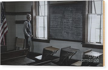 Wood Print featuring the photograph School Teach At Lower Fox Creek School In Kansas by Keith Kapple