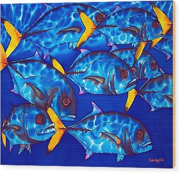 Schooling  Jack Fish Wood Print by Daniel Jean-Baptiste