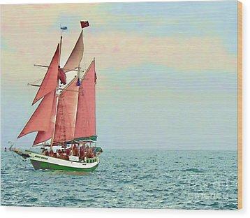 Schooner Jolly Rover Key West Wood Print by Joan  Minchak