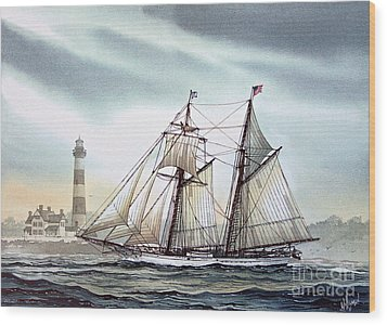 Schooner Light Wood Print by James Williamson