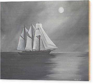 Schooner Moon Wood Print by Virginia Coyle