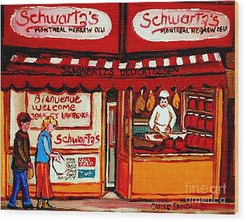 Schwartz's  Deli  Montreal Landmarks Wood Print by Carole Spandau