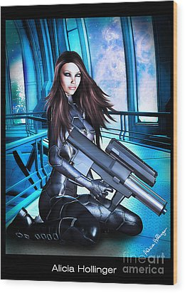Sci-fi Brunette With A Big Gun Wood Print