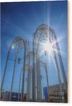 Science Center Sun Flare Wood Print by Chris Anderson