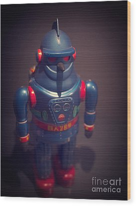 Science Fiction Vintage Robot Toy Wood Print by Edward Fielding