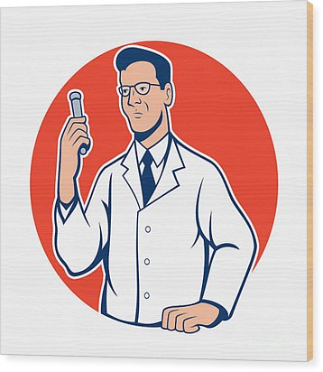 Scientist Lab Researcher Chemist Cartoon Wood Print by Aloysius Patrimonio
