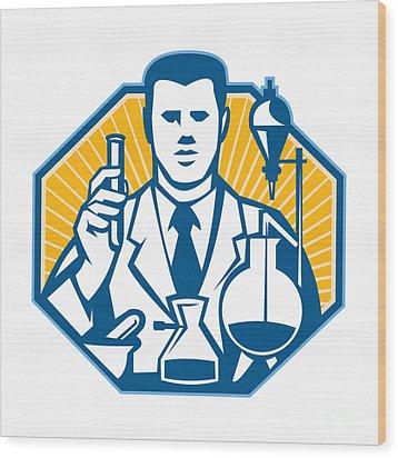 Scientist Lab Researcher Chemist Retro Wood Print by Aloysius Patrimonio