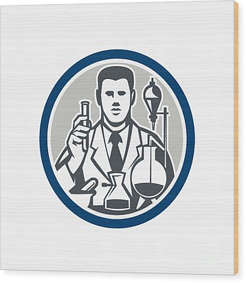 Scientist Lab Researcher Chemist Retro Circle  Wood Print by Aloysius Patrimonio