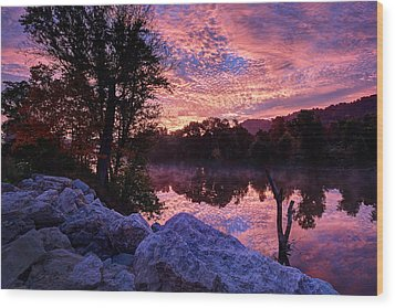 Scioto Sunrise Wood Print by Jaki Miller