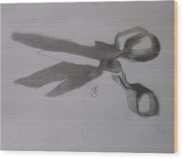 Scissors Wood Print by AJ Brown