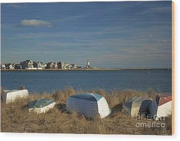 Scituate Harbor Boats Wood Print by Amazing Jules