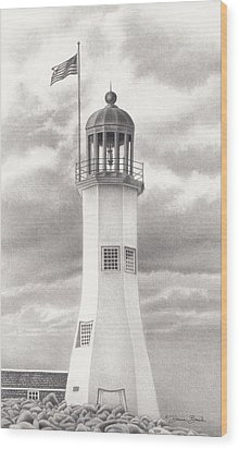 Wood Print featuring the drawing Scituate Light by Donna Basile