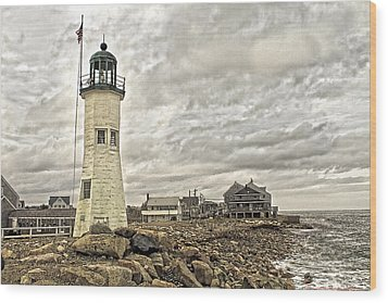 Wood Print featuring the photograph Scituate Lighthouse by Constantine Gregory