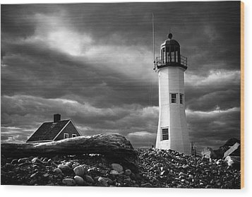 Wood Print featuring the photograph Scituate Lighthouse Under A Stormy Sky by Jeff Folger