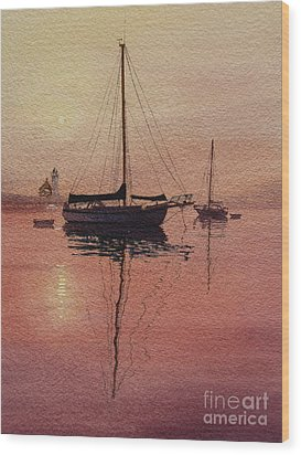 Wood Print featuring the painting Scituate Serenity by Karol Wyckoff