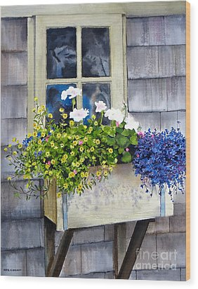 'sconset Window Box Wood Print by Karol Wyckoff