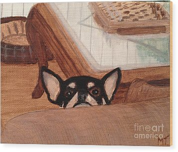 Scooter Peeking Over Couch Wood Print by Michelle Treanor