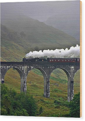 Scotland Steam Train And Bridge Wood Print by Henry Kowalski