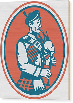 Scotsman Scottish Bagpipes Retro Wood Print by Aloysius Patrimonio