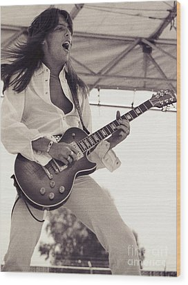 Scott Gorham Of Thin Lizzy Black Rose Tour At Day On The Green 4th Of July 1979  Wood Print