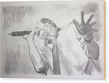 Scott Weiland Wood Print by Charlotte NC Artist Phil Robinson