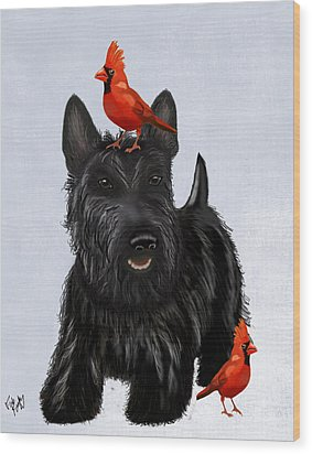 Scottie Dog And Red Birds Wood Print by Kelly McLaughlan