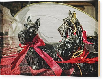 Scotties In The Window Wood Print by Caitlyn  Grasso