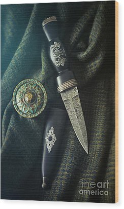 Wood Print featuring the photograph Scottish Dirk And Celtic Pin Brooch On Plaid by Sandra Cunningham