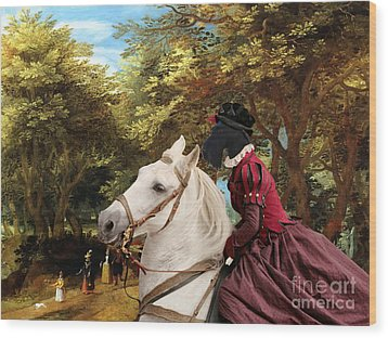 Scottish Terrier Art - Pasague With Horse Lady Wood Print by Sandra Sij