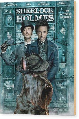Scottish Terrier Art Canvas Print - Sherlock Holmes Movie Poster Wood Print by Sandra Sij
