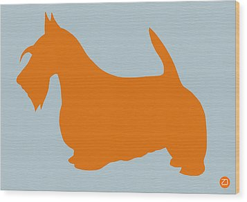 Scottish Terrier Orange Wood Print by Naxart Studio