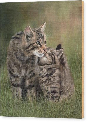 Scottish Wildcats Painting - In Support Of The Scottish Wildcat Haven Project Wood Print by Rachel Stribbling