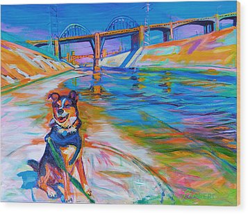 Scout The River Guard Wood Print by Bonnie Lambert