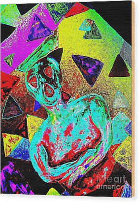 Scream Abstract Art Wood Print by Annie Zeno