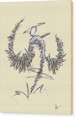 Scribble Angel 2 Wood Print