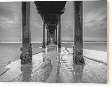 Wood Print featuring the photograph Scripps Pier Black And White by Robert  Aycock