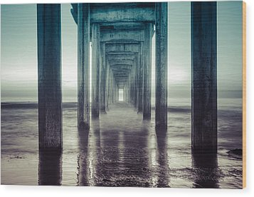 Wood Print featuring the photograph Scripps Pier by Sonny Marcyan