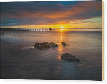 Scripps Pier Sunset 2 Wood Print by Larry Marshall
