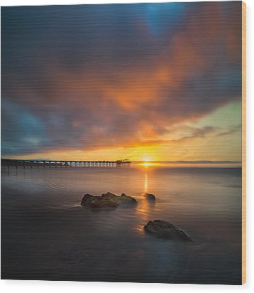 Scripps Pier Sunset 2 - Square Wood Print by Larry Marshall