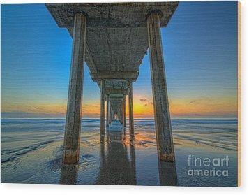 Scripps Pier Sunset Wood Print by Michael Ver Sprill