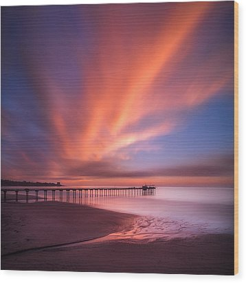 Scripps Pier Sunset - Square Wood Print by Larry Marshall