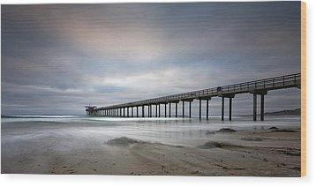 Scripps Pier Wide -lrg Print Wood Print by Peter Tellone